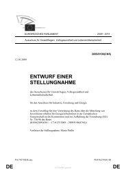 DE DE ENTWURF EINER STELLUNGNAHME