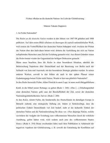 Fichtes »Reden an die deutsche Nation« im Licht der Globalisierung ...