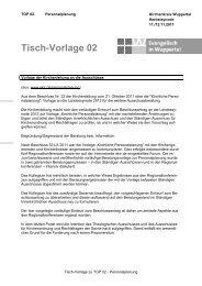 Tisch-Vorlage 02 zu Top Personalplanung - Evangelisch in Wuppertal