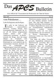 Vom Präsidenten: Beginn des Gesangsunterrichtes - EVTA