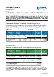 Preisblatt Netzentgelte Gas gültig ab 01.01.2013 - e-werk ...