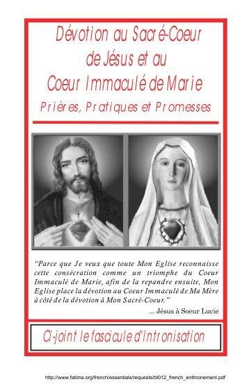 Devotion au Sacr e-Coeur de Jesus et au Coeur Immacule de Marie