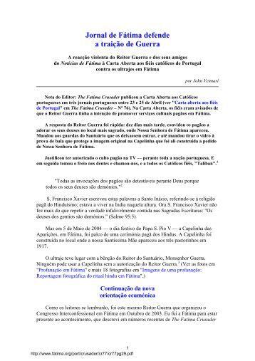 Jornal de Fátima defende a traição de Guerra - The Fatima Network