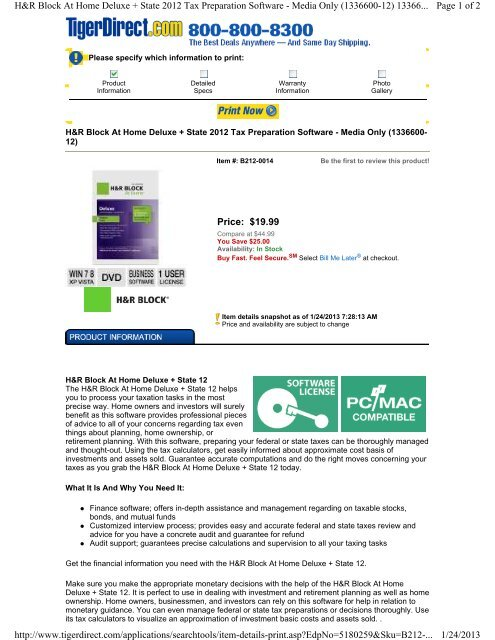 Price: $19 99 Page 1 of 2 H&R Block At Home Deluxe +