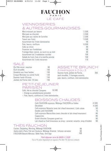 La carte du petit déjeuner (PDF) - Fauchon