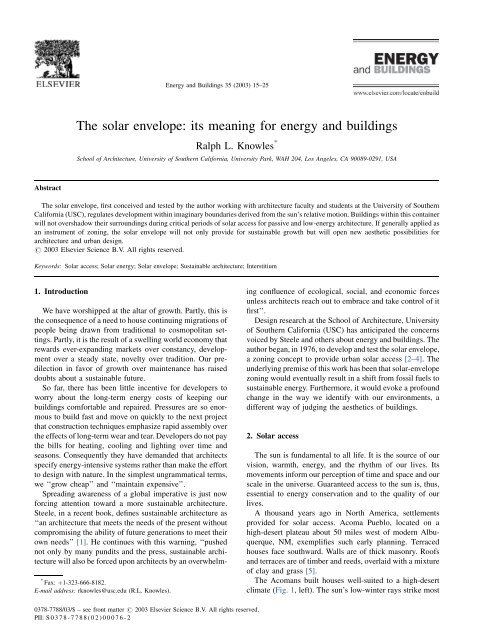 The solar envelope: its meaning for energy and buildings