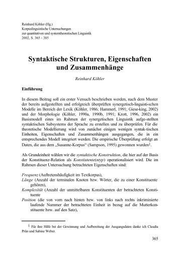 Syntaktische Strukturen, Eigenschaften und Zusammenhänge