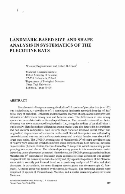 landmark-based size and shape analysis in ... - FAUNA Paraguay