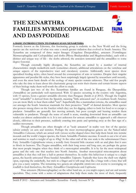 the xenarthra families myrmecophagidae and ... - FAUNA Paraguay