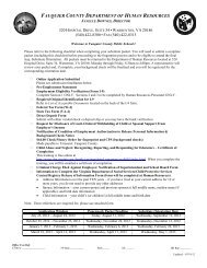 FAUQUIER COUNTY DEPARTMENT OF HUMAN RESOURCES