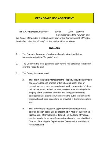 OPEN SPACE USE AGREEMENT - Fauquier County