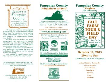 FALL FARM TOUR & FIELD DAY - Fauquier County, Virginia