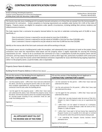 CONTRACTOR IDENTIFICATION FORM - Fauquier County