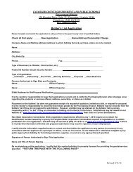 Bidder's List Application and Commodity Form - Fauquier County