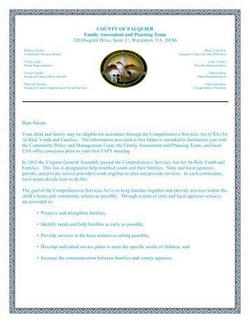 Letter to Parents - Fauquier County