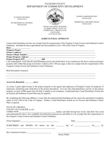 Agricultural Affidavit - Fauquier County