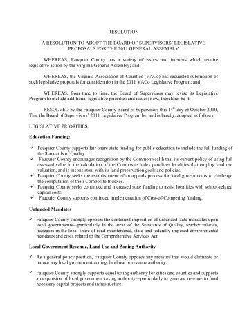 LEGISLATIVE PROPOSALS FOR THE 2011 ... - Fauquier County