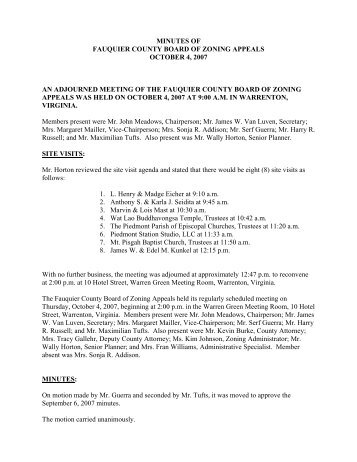 minutes of fauquier county board of zoning appeals october 4, 2007
