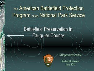 The American Battlefield Protection Program - Fauquier County