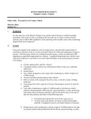 Personal Use of Company Vehicle Policy - Fauquier County