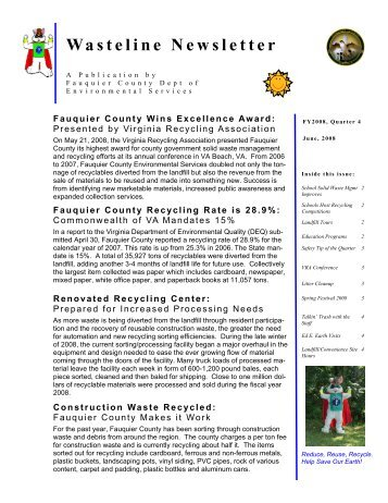 Wasteline Newsletter - Fauquier County