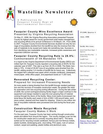 Wasteline Newsletter - Fauquier County