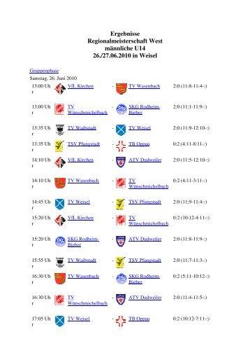 Regionalmeisterschaft West U14 männlich, 26.06 ... - VfL Kirchen