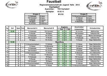 2012-02-02 Regionalmeisterschaft U16m Ergebnisse - VfL Kirchen