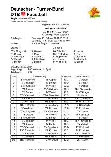Westdeutsche Meisterschaft männl. A-Jugend, 10.02 ... - VfL Kirchen