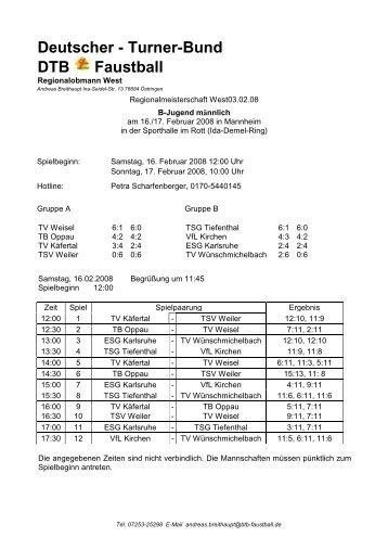 Westdeutsche Meisterschaft männl. B-Jugend, 16.02 ... - VfL Kirchen