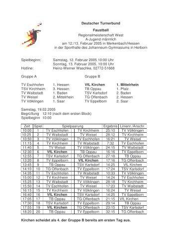 Regionalmeisterschaft West A-Jugend männlich - VfL Kirchen