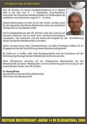 Grußwort des Schirmherrn - VfL Kirchen