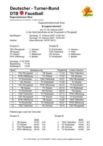 Westdeutsche Meisterschaft männl. B-Jugend, 17.02 ... - VfL Kirchen