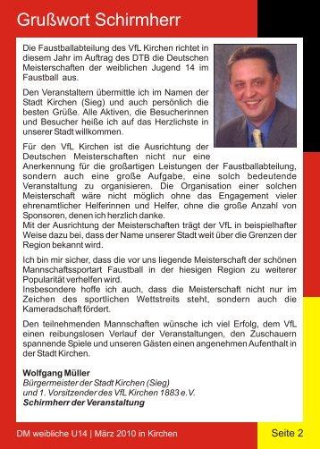 Grußwort Schirmherr - VfL Kirchen