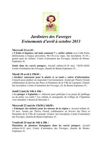Evénements Jardiniers des Faverges - Centre de Rencontre et d ...