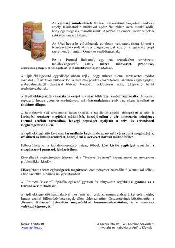 Az egészség mindenkinek fontos . Szervezetünk ... - Favora-Info Kft.