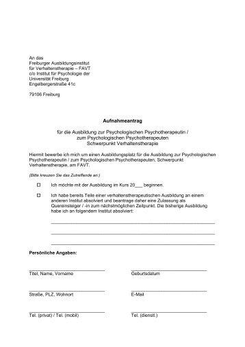 Aufnahmeantrag für die Ausbildung zur Psychologischen ... - FAVT