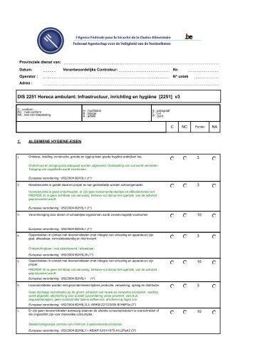 DIS 2251 Horeca ambulant: Infrastructuur, inrichting en hygiëne - Favv