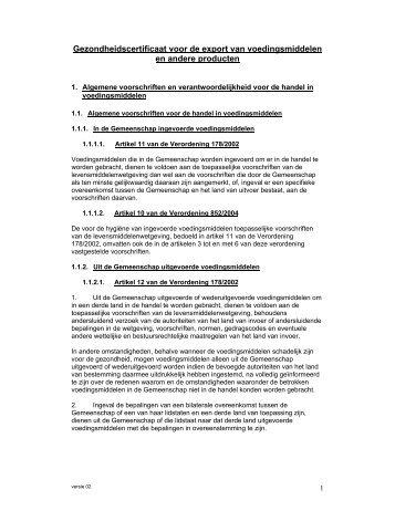 Gezondheidscertificaat voor de export van voedingsmiddelen ... - Favv