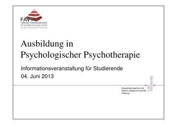 Ausbildung in Psychologischer Psychotherapie - FAVT