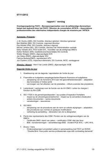 Vergadering van 07/11/2012 - Favv