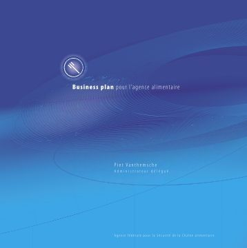 Business plan pour l'agence alimentaire - Favv