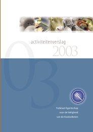 Activiteitenverslag 2003 - Favv