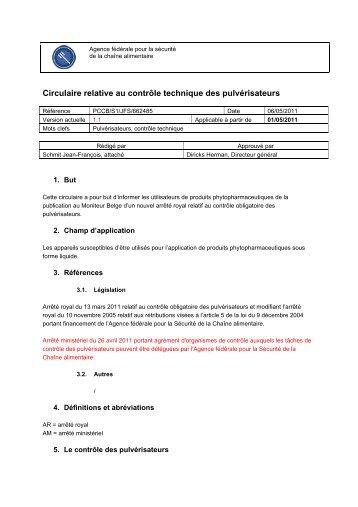 Circulaire relative au contrôle technique des pulvérisateurs
