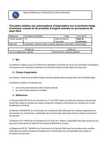 Circulaire relative aux autorisations d'importation sur le ... - Favv