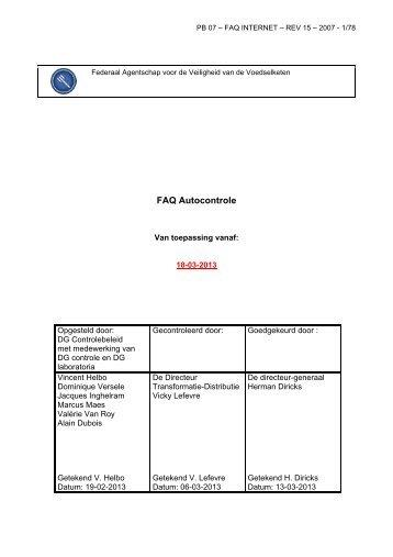 FAQ Autocontrole - Favv