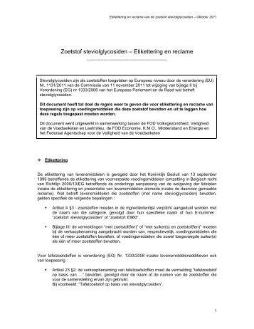 Zoetstof steviolglycosiden – Etikettering en reclame - Favv