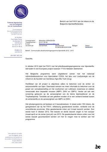 Bericht van 06/08/2012 - Favv