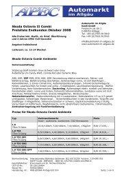 Skoda Octavia II Combi Preisliste Endkunden Oktober 2008