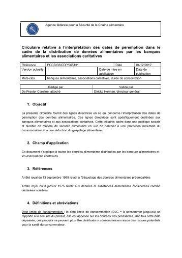 Circulaire relative à l'interprétation des dates de péremption ... - Favv